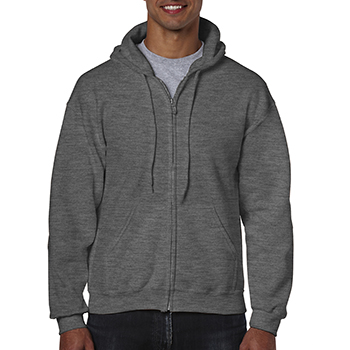 Heavy blend Full Zip Hooded Sweatshirt donkergrijs