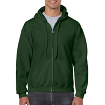 Heavy blend Full Zip Hooded Sweatshirt donkergroen