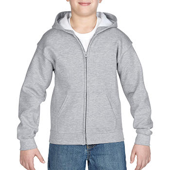 Heavy blend Kid's Full zip Hooded Sweatshirt grijs