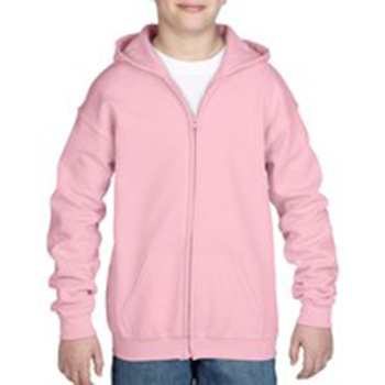 Heavy blend Kid's Full zip Hooded Sweatshirt roze