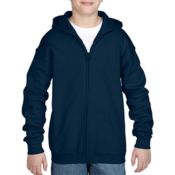 Heavy blend Kid's Full zip Hooded Sweatshirt navy
