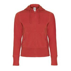 Hooded Full Zip Women Red