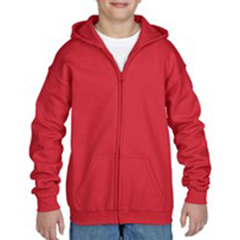 Heavy blend Kid's Full zip Hooded Sweatshirt rood