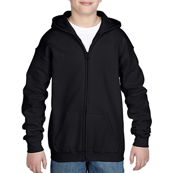Heavy blend Kid's Full zip Hooded Sweatshirt zwart